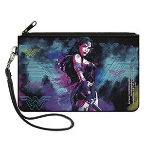 Buckle Down Wonder Woman Dawn Of Justice Canvas Zip Wallet in Black/Purple