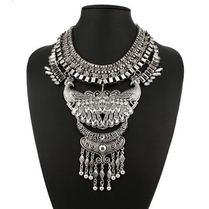 Us-DeSiGn : Fashion Collar Power choker Vintage Bohemian gypsy ethnic Silver Statement Necklace & Pendants Women Maxi fine Jewelry