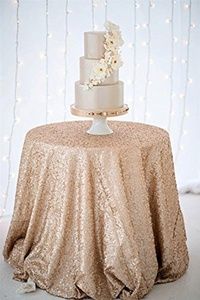 B-COOL Champagne Blush sequin tablecloth 50 Round Sequin Luxury Linens by B-COOL