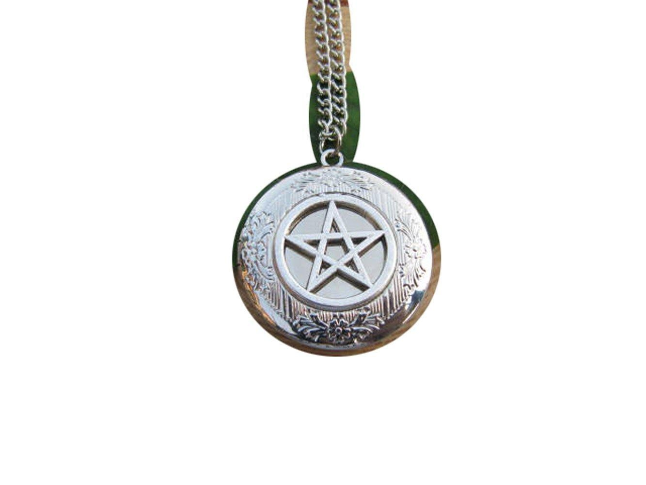 Silver Pentacle Locket Necklace Gothic Pentacle Charm Medieval Fantasy Locket Necklace Pentagram Locket Necklace