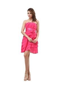 Angelia Bridal Women's Short Strapless Flounced Chiffon Bridesmaid Dress (Size 10)