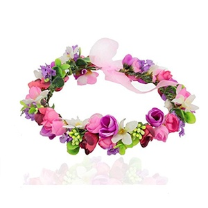 Floral Fall Hippies Sun Flower Headband & Bracelet Festival Hair Wreath Crown (Pink)