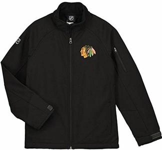 Chicago Blackhawks Youth Jacket Full-Zip Soft Shell Transition Logo Block 12414 (Large)