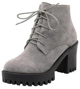 Summerwhisper Women's Trendy Lace up Faux Suede Round Toe Block High Heel Platform Short Boots Gray 5.5 B(M) US