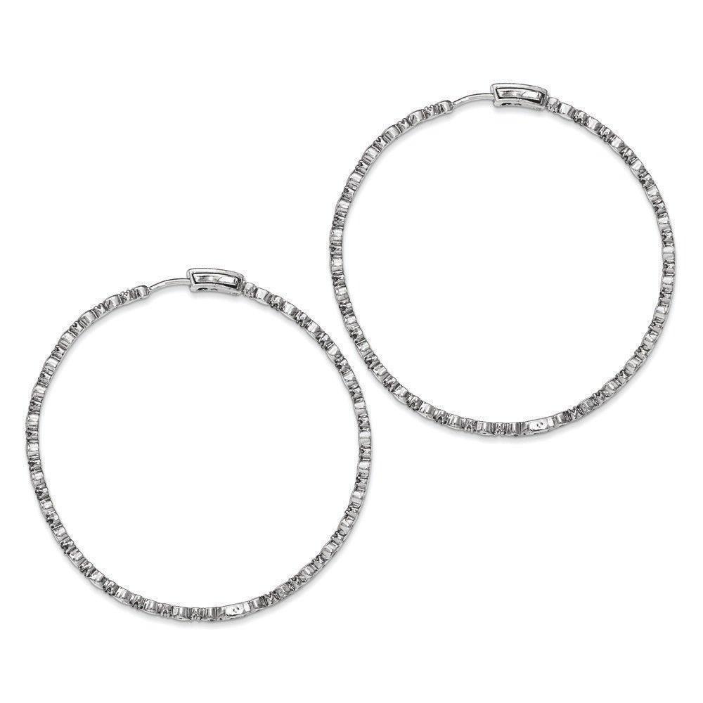 .925 Sterling Silver 65 MM Diamonds In & Out Hoop Earrings