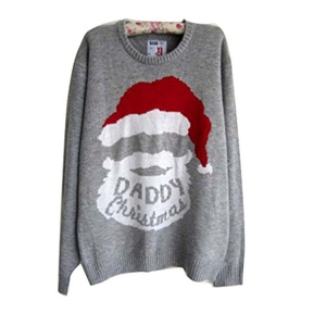 Annisking Womens Christmas Sweater Xmas Santa Claus Head Jumper Pullover Long Sleeve Crew Neck Novelty Knitwear M -8N01