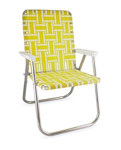 Lawn Chair USA Aluminum Webbed Chair (Deluxe, Yellow and White with White Arms)