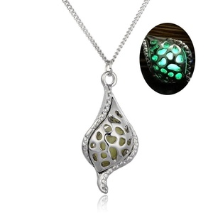Rinhoo White Gold Plated Hollow The Little Mermaid Teardrop Glow in the Dark Pendant Necklace(Yellow and Green)
