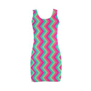 Abbie Miller Retro Pattern Women's Polyester Vest Dress Pink