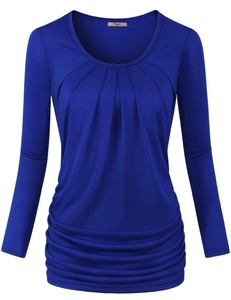 Plus Size Cothing for Women,Cestyle Long Sleeve Round Neck Solid Shirring Drape Top Pullover Tunic Blue 2XL