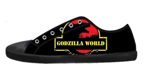Custom Men's Low-Top Lace-up Rubber Sole Shoes Monster Godzilla World Image Imported Design-12M(US)