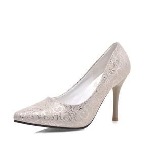 VASHOP Women's Fashion High Heel Pointed Toe Stiletto Pump Shoes Emboridered Dress Pumps,Beige/8