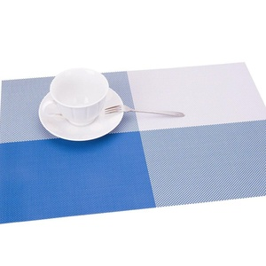 Lerela Fashion Blue Grid Pattern PVC Placemat Heat Insulation Stain-Resistant Place Mat For Kitchen Dining Set Of 4