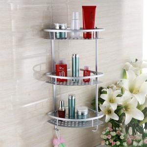 space aluminium racks/Bathroom double storage basket/ corner triangle-C