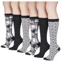 Tipi Toe Women's 6-Pairs Colorful Patterned Knee High Socks (KH163B-6)