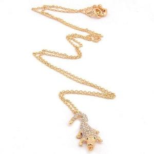 Gudeke Fashion Womens Crocodile Alligator Diamonds Necklace Pendant 65cm Chain(Adjustable)