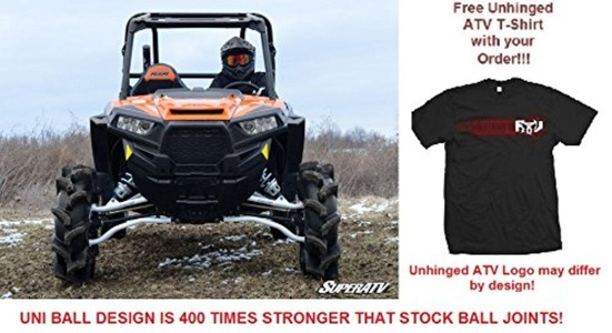 Bundle 2 items: SuperATV UNIBALL AND STUD Polaris RZR XP Turbo/1000 High Clearance Forward Offset A-Arms and Free Unhinged ATV T-Shirt (3X, Black) (3X, White Aluminum)