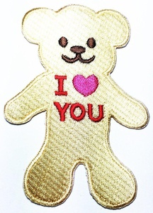 Cute teddy bear Golden i love you logo patch Jacket T-shirt Sew Iron on Patch Badge Embroidery