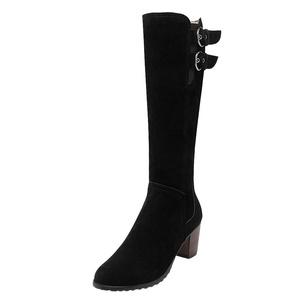 Show Shine Women's Buckles High Chunky Heel Riding Tall Boots (6, beige)
