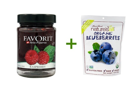 Favorit Swiss Preserves Raspberry -- 12.3 oz, ( 5 PACK ), Nature's All Foods Organic Freeze-Dried Raw Blueberries -- 1.2 oz