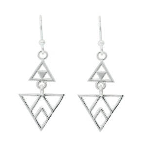 Tomas Sterling Silver Chevron Multi Triangle Dangle Earrings