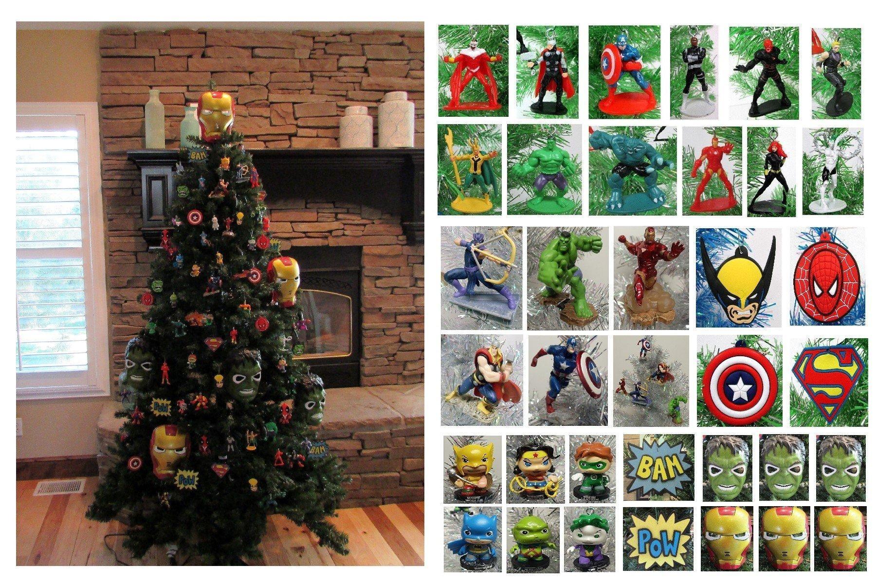 Batman christmas tree ornaments - Comic Book Super Hero Deluxe 80 Piece Christmas Tree Ornament Set Featuring Hulk Batman