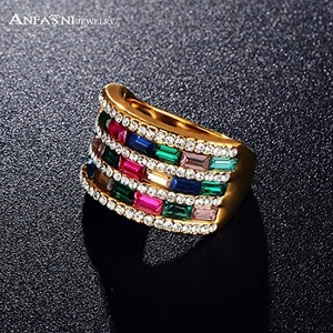 Slyq Jewelry Classic Multicolour Ring Gold Plated Ring SWA Elements Crystal From Austria Ri-HQ0332