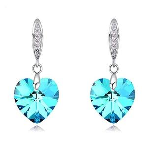 SILYHEART Love Heart Hook Dangle Earrings Made with Swarovski Element Crystal