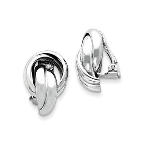 .925 Sterling Silver 19 MM Knot Design Clip Back Non-Pierced Earrings