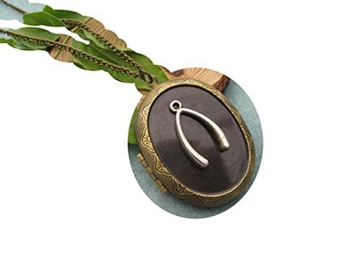 Antique Brass Wish Bone Locket Necklace Victorian Jewelry Gift Vintage Style
