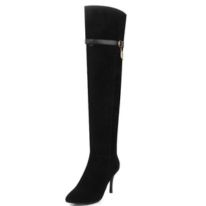 Fashion Heel Women's Nubuck Stiletto Heel Pointed Toe Zip Thigh High Boot (10, black)