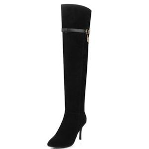 Fashion Heel Women's Nubuck Stiletto Heel Pointed Toe Zip Thigh High Boot (10, black)
