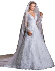 JoyVany Women's Lace Wedding Dresses 2016 V-Neck Long Wedding Bridal Gowns White Size 26W