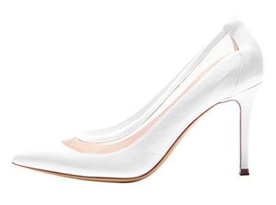 Maovii Women's Big Size Pointed Toe Stitching Mesh High Stiletto Heel Pump Court Shoes for Wedding Party Dress 11 M US White