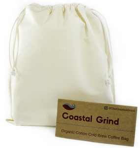 Cold Brew Coffee Bag by Coastal Grind - Natural, Reusable, Organic Cotton Filter Bags for Quality Cold Brew Coffee At Home