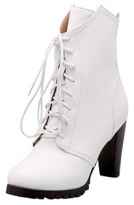 Summerwhisper Women's Stylish Asymmetric Lace up Round Toe Chunky High Heel Short Boots White 7 B(M) US