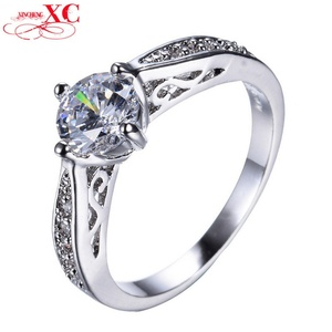 Cherryn Jewelry White Claw Ring CZ Ring Gold Filled Colorful Zircon Crystal Band Jewelry
