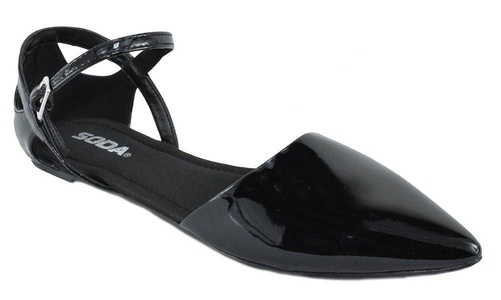 Soda Shoes Women Flat Ankle Strap Pointy Toe Gel Insole MADISON Black Patent 7