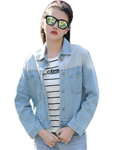 Friendshop Women's Light Blue Long Sleeve Jean Distressed Denim Washed Jacket