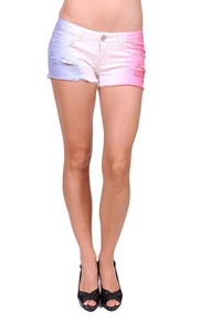 Machine Jeans Women Frayed Tricolor Shorts Jeans with Distressing M Blue White Pink