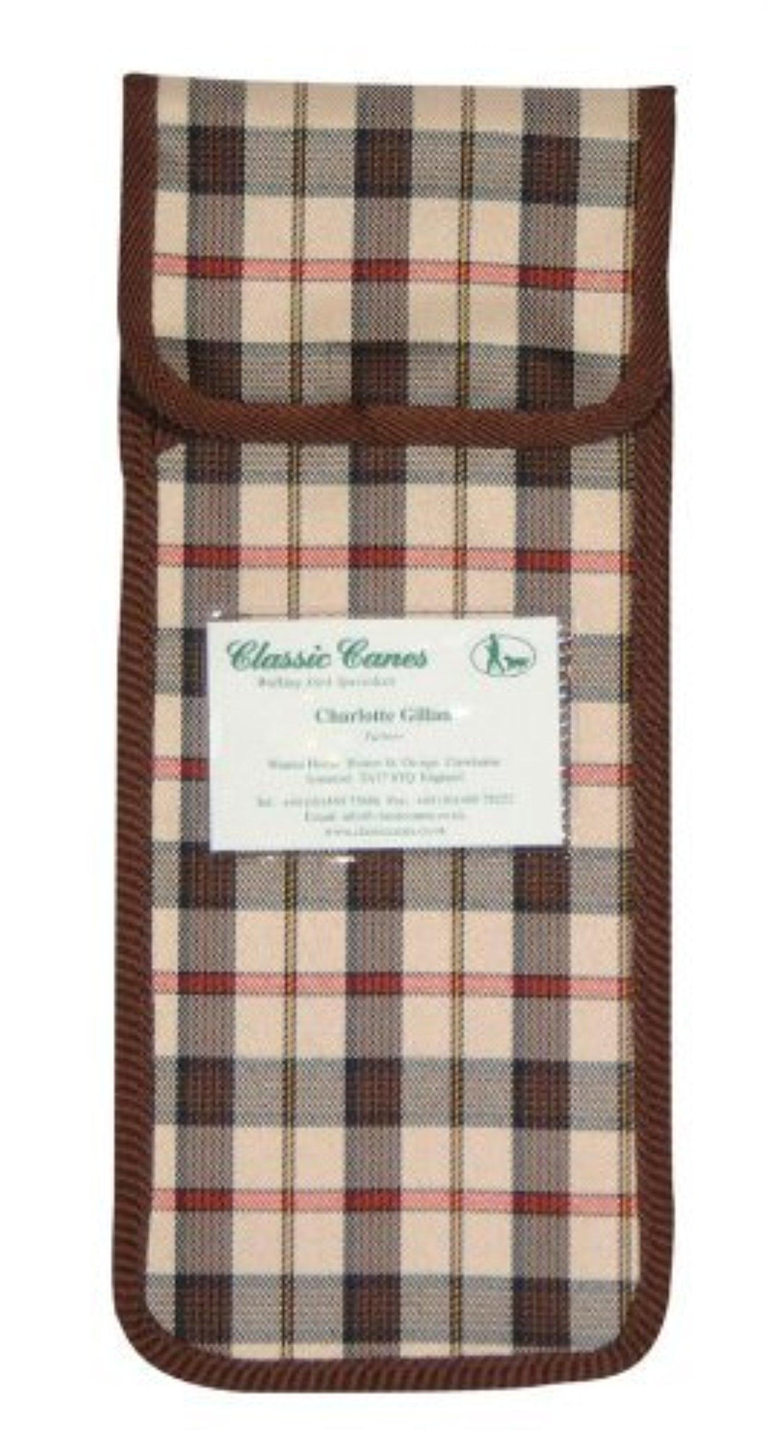 Brown Check Pouch for Folding Walking Sticks by Classic Canes