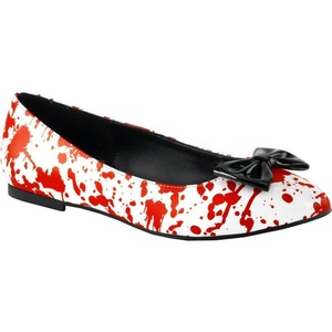 Women's Funtasma VAIL-20BL Pointed Toe Flats White/Red 8