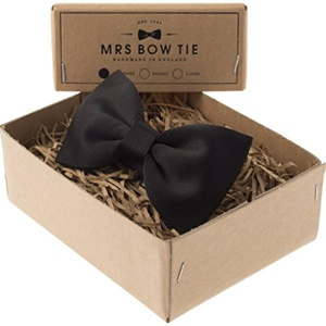 Mrs Bow Tie Satin Ready-Tied Bow Tie - Black