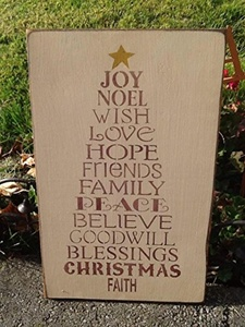 Primitive Hand Made Distressed Christmas Home Decor - Christmas Sign