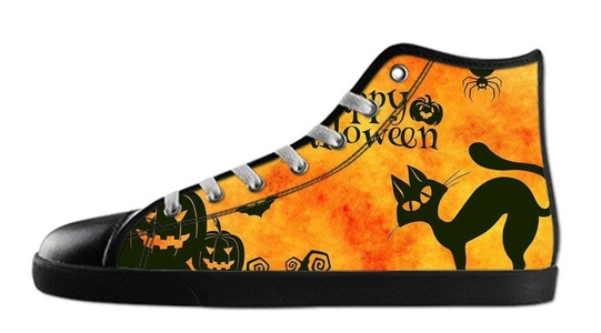 Custom Women's Halloween Pumpkin Canvas Shoes High-Top Black Rubber Casual Lace-up Soft Inner Sneaker-7M(US)