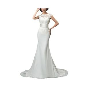 Creative Cap Sleeves V-Back Lace Mermaid Wedding Dress Long Elegant Sleeveless Wedding Gown