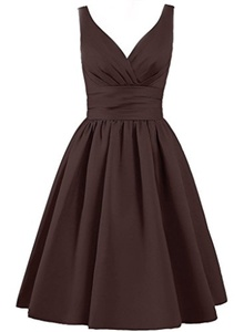 Angel Formal Dresses Women's V Neck Pleated Satin Formal Prom Dress(10,Cholocate)