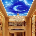 FEI&S Large mural nonwoven wallpaper wallpaper Moon room hotel living room ceiling of blue sky and white clouds, point extension