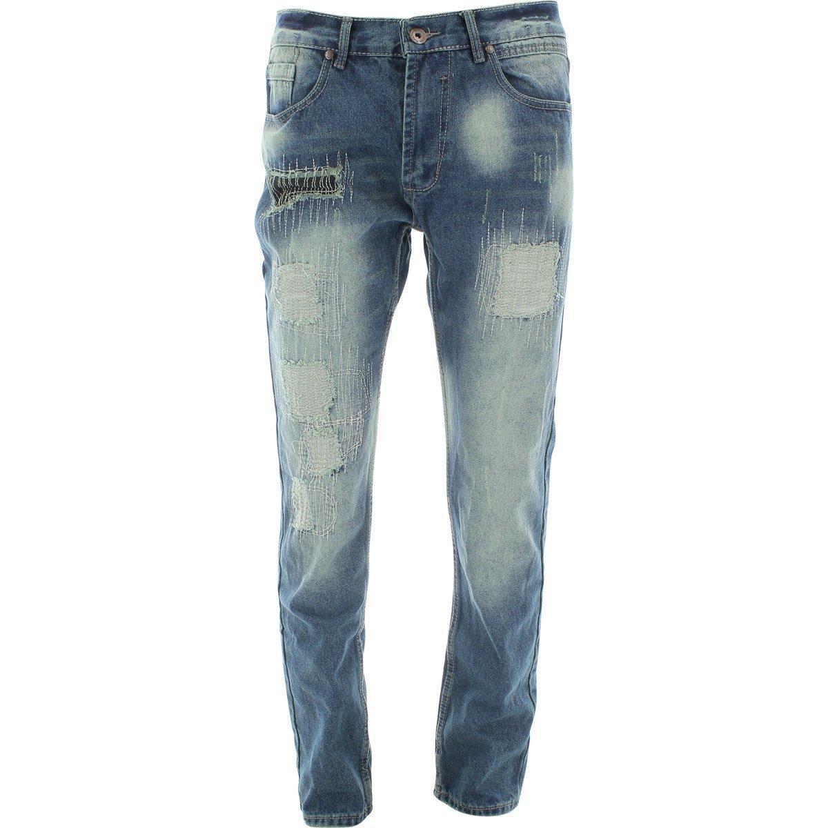 Denim Culture - Men's Ripped And Repair Jeans - Dark Blue
