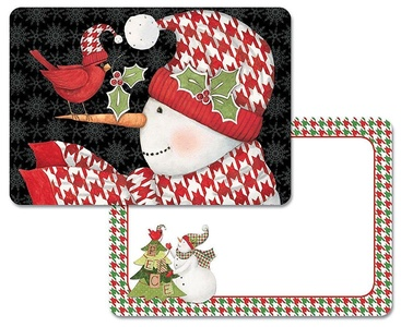 4 Christmas Holiday Reversible Washable Plastic Placemats, Patterned Snowmen